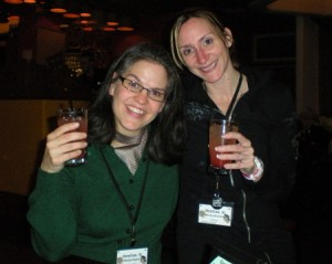 Wendy and Sandra's first drink together!