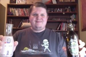 Adam toasts with Sake!