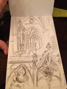 Fran's sketch at Westminster Abbey.